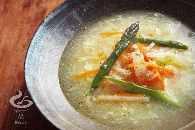 アスパラとジャガイモの卵スープ