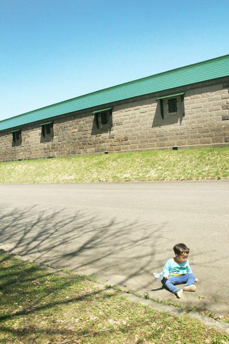 旧札幌拓殖倉庫の裏にてアリに夢中の長男